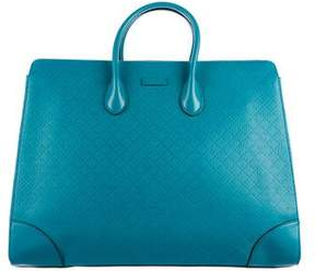Gucci Leather-Trimmed Diamante Tote - GREEN - STYLE