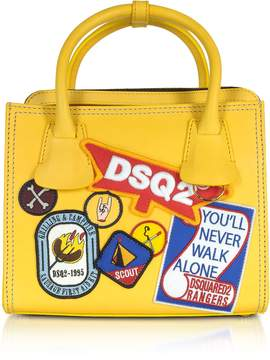 DSQUARED2 Deana Small Yellow Leather Satchel w/Patches