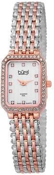 Burgi Two-Tone Steel White Diamond Dial Ladies Watch