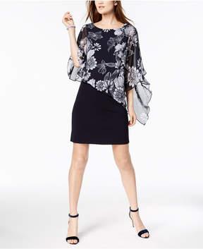 Connected Printed Cold-Shoulder Cape Dress