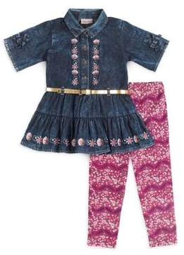 Little Lass Little Girl's Two-Piece Denim Top and Floral Leggings Set