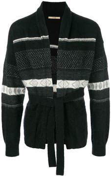 Nuur pattern knit belted waist cardigan