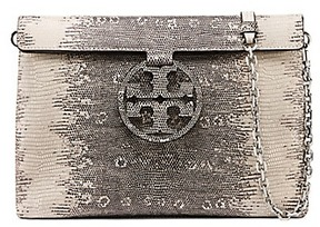 Tory Burch Miller Embossed Convertible Flap Clutch - NATURAL LIZARD - STYLE