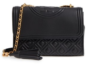 Tory Burch Small Fleming Quilted Lambskin Leather Convertible Shoulder Bag - Black