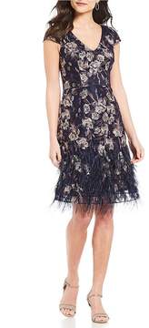 David Meister Feather Hem Embroidered Dress