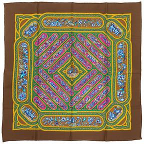 One Kings Lane Vintage HermAs Qalamdan Silk Scarf - Vintage Lux