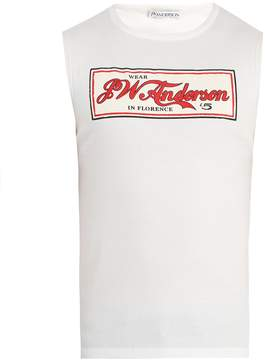 J.W.Anderson Logo-print ribbed cotton-jersey tank top