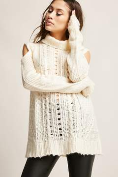 Forever 21 Open-Shoulder Cable Knit Top