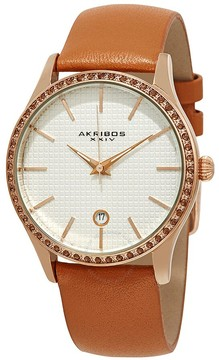Akribos XXIV Silver Dial Tangerine Leather Ladies Watch
