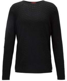 HUGO Boss Rorschach Jacquard Sweater Sull M Black