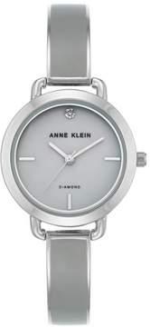Anne Klein Diamond-Accented Gray Dial Silvertone Bracelet Watch