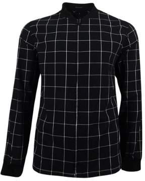 GUESS Mens Checkered Front Zip Casual Shirt