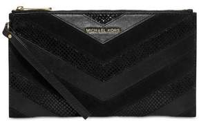 Michael Kors NWT BEDOFRD LG Zip Clutch Chevron Design BLACK Embossed Leather - BLACK LEATHER EMBOSSED - STYLE