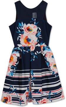 Rare Editions Floral-Print Scuba Dress, Big Girls