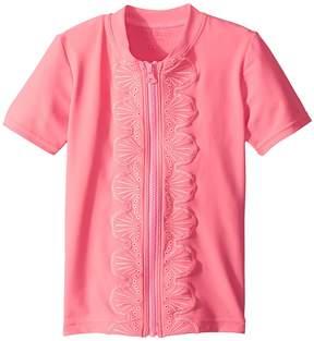 Seafolly Sweet Summer Short Sleeve Zip Front Rashie Girl's Swimwear