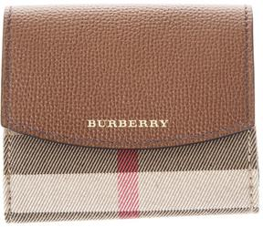 Burberry Leather & House Check Fabric Wallet - TAN - STYLE