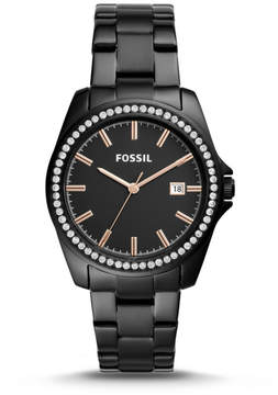 Fossil Janice Three-Hand Black Stainless Steel Watch