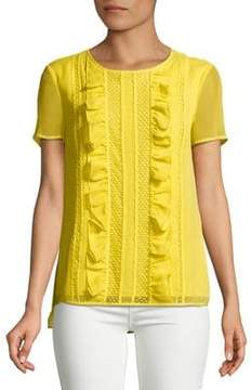 Isaac Mizrahi IMNYC Short Sleeve Ruffle & Lace Trim Chiffon Top