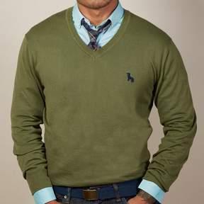 Blade + Blue Olive Green V-Neck Sweater