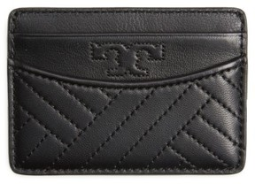 Women's Tory Burch Alexa Slim Leather Card Case - Black