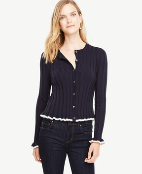 Ann Taylor Ruffle Silk Cotton Cardigan