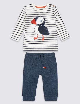Marks and Spencer 2 Piece Puffin Striped Top & Bottom Outfit