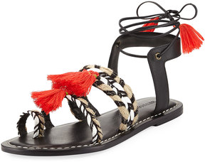 Bernardo Mirage Woven Tassel Flat Sandal, Black