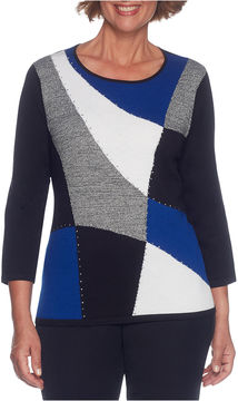 Alfred Dunner High Roller 3/4 Sleeve Crew Neck Geometric Pullover Sweater