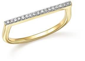 Adina 14K Yellow Gold Pavé Diamond Flat Bar Ring