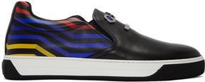 Fendi Black Faces Slip-On Sneakers