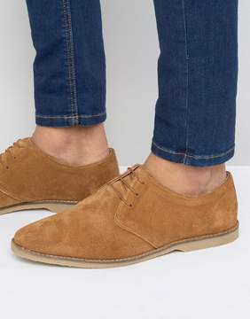 Asos Derby Shoes In Tan Suede With Piped Edging