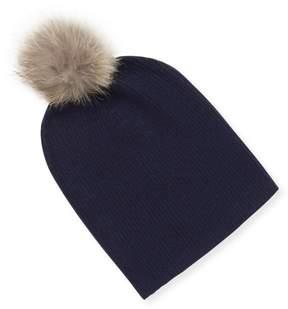 Sofia Cashmere Women's Cashmere Slouchy Fur Pom Beanie