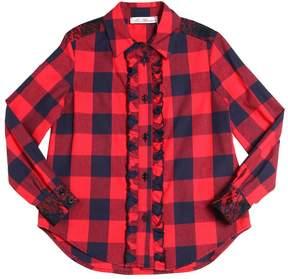 Miss Blumarine Plaid Print Cotton Poplin Shirt