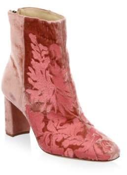 Alexandre Birman Regina Embroidered Velvet Booties