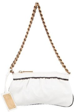 Dolce & Gabbana Scalloped-Trimmed Mini Bag - WHITE - STYLE
