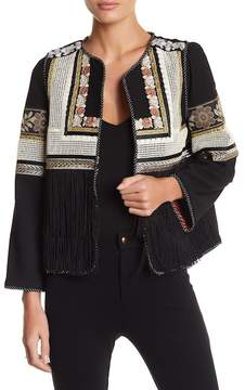 Berek Mixed Print Embroidered Fringe Jacket