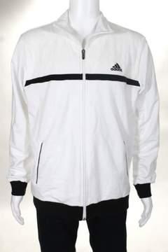adidas White Black Cotton Zip Up Climalite Jacket Size Large $75 NEW