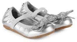Stuart Weitzman Kid's Fannie Bow Accented Mary Jane Flats