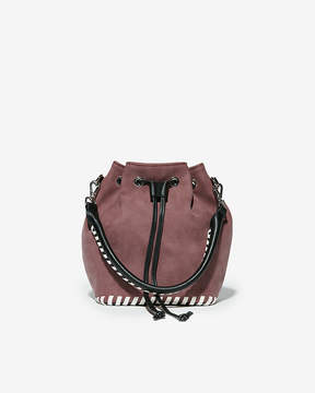 Express Faux Nubuck Whipstitch Bucket Bag