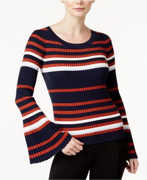Bar III Striped Bell-Sleeve Sweater, Created for Macy's
