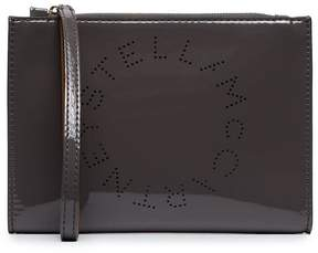 Stella McCartney grey Stella logo faux patent leather pouch