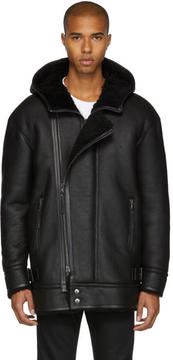 Diesel Black Gold Black Shearling Hooded Jacket