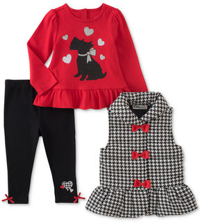 Kids Headquarters 3-Pc. Houndstooth Vest, Printed Tunic & Leggings Set, Baby Girls (0-24 months)
