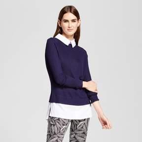Cliche Women's Knit to Woven Collared Top Blue/White