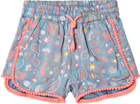 Ikks Blue All Over Print and Neon Pom Pom Detail Shorts