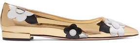 Prada Appliquéd Mirrored And Patent-leather Point-toe Flats - Gold