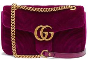 Gucci Gg Marmont Small Quilted Velvet Cross Body Bag - Womens - Purple