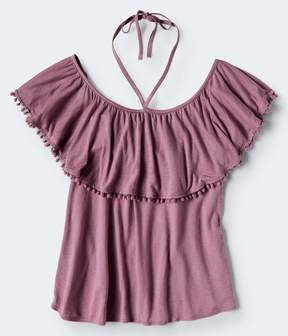 Aeropostale Solid Pompom Cold-Shoulder Top