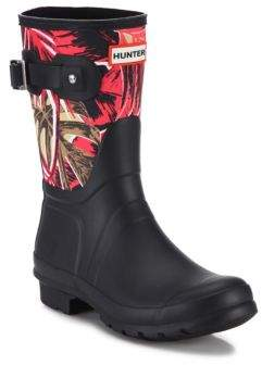 Hunter Short Jungle-Print Canvas & Rubber Rain Boots
