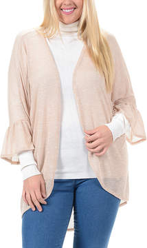 Bellino Taupe Ruffle-Sleeve Open Cardigan - Plus